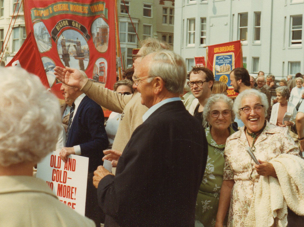 Jack Jones at a Pensioners' rally in Brighton 1983